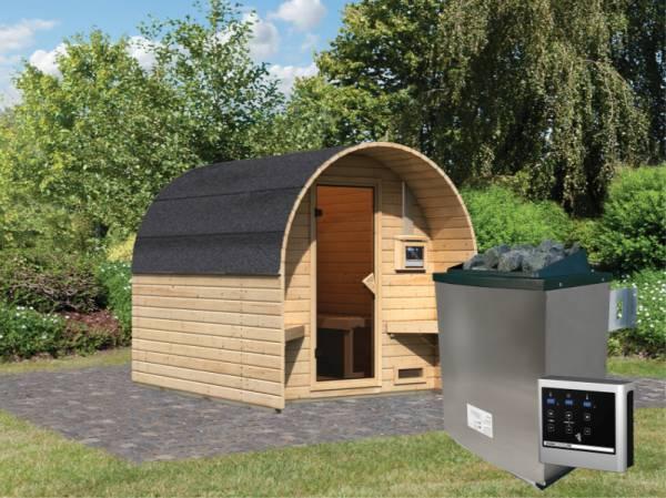 Karibu Fasshaus 2 mit 9 kW Ofen ext. Steuerung