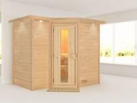 Karibu Sauna Sahib 2 ohne Ofen, mit Dachkranz, mit energiesparender Saunatür