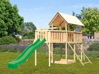 Akubi Spielturm Danny Satteldach + Rutsche grün + Einzelschaukel + Anbauplattform XL + Netzrampe