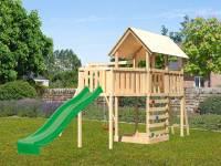 Akubi Spielturm Danny Satteldach + Rutsche grün + Einzelschaukel + Anbauplattform XL + Kletterwand