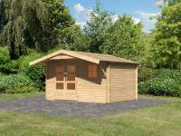Karibu Woodfeeling Gartenhaus Blockholm 3 mit Vordach