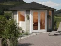 Wolff Finnhaus 5-Eckhaus Katrin 44-A, Set inkl. schwarzen Dachschindeln und Dachhaube
