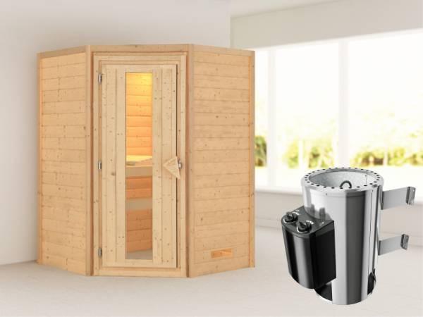 Alicja - Karibu Sauna Plug & Play 3,6 kW Ofen, int. Steuerung - ohne Dachkranz - Energiespartür