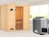Karibu Sauna Selena mit 4,5 kW BIO-Ofen ext. Strg ohne Dachkranz
