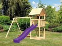 Akubi Spielturm Lotti Set mit Doppelschaukel und Rutsche in violett