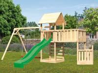 Akubi Spielturm Lotti + Schiffsanbau unten + Anbauplattform XL + Kletterwand + Doppelschaukel + Rutsche grün