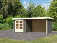Karibu Woodfeeling Gartenhaus Askola 2 terragrau mit Anbaudach 2,80 Meter, Seiten- und Rückwand