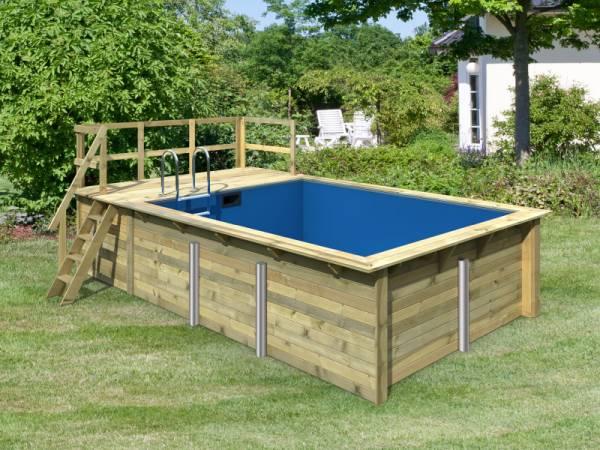 Karibu Rechteck Pool Größe 2 inkl. Terrasse 3,5 m