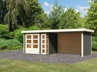 Karibu Woodfeeling Gartenhaus Kerko 3 in terragrau mit 2,80 m Anbaudach inklusive Rück-und Seitenwand
