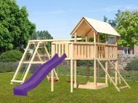 Akubi Spielturm Danny Satteldach + Rutsche violett + Doppelschaukelanbau Klettergerüst + Anbauplattform XL + Netzrampe