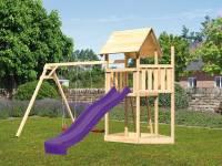 Akubi Spielturm Lotti Satteldach + Schiffsanbau oben + Doppelschaukel + Rutsche in violett
