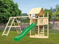 Akubi Spielturm Lotti Satteldach + Schiffsanbau oben + Doppelschaukel mit Klettergerüst + Kletterwand + Rutsche in grün