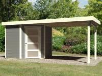 Karibu Woodfeeling Gartenhaus Schwandorf 3 terragrau mit Anbaudach 2,75 Meter