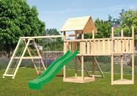 Akubi Spielturm Lotti Satteldach + Schiffsanbau oben + Doppelschaukel mit Klettergerüst + Anbauplattform XL + Netzrampe + Rutsche in grün