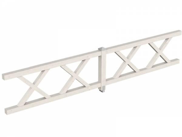 Skan Holz Brüstung für Pavillons 465 cm Andreaskreuz in weiß