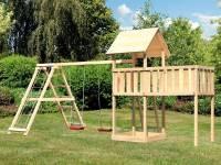 Akubi Spielturm Lotti- Anbauplattform XL- Doppelschaukel inkl. Klettergerüst
