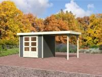 Karibu Gartenhaus Jever 3 terragrau mit Anbaudach 2,40 Meter inkl. Fußboden