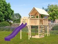 Akubi Spielturm Danny Satteldach + Rutsche violett + Einzelschaukel + Anbauplattform XL + Kletterwand