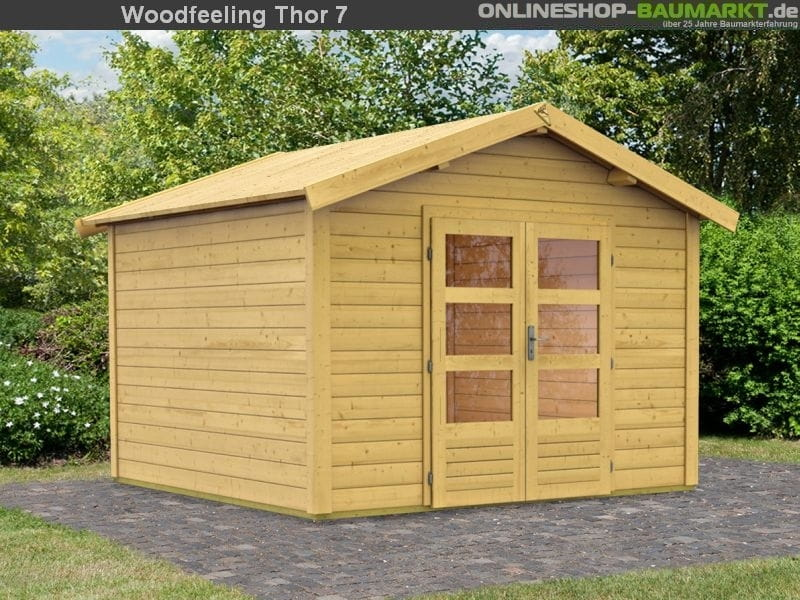 karibu woodfeeling gartenhaus elegant karibu woodfeeling pultdach bastrup mm mit m schleppdach. Black Bedroom Furniture Sets. Home Design Ideas
