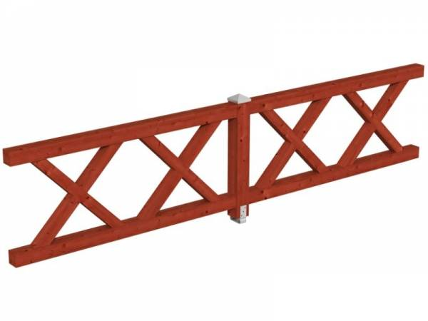Skan Holz Brüstung für Pavillons 400 cm Andreaskreuz in mahagoni
