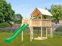 Akubi Spielturm Danny Satteldach + Rutsche grün + Einzelschaukel + Anbauplattform XL