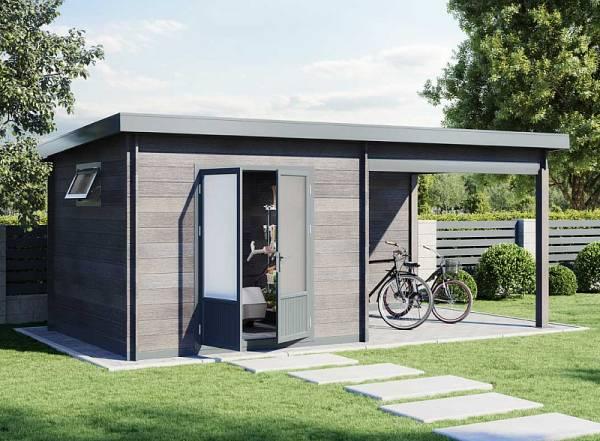 Wolff Finnhaus WPC-Haus Trend D grau mit Lounge
