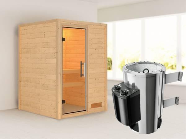 Nadja - Karibu Sauna Plug & Play 3,6 kW Ofen, int. Steuerung - ohne Dachkranz - Klarglas Ganzglastür