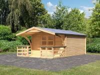 Karibu Gartenhaus Bayreuth 6 mit Vordach und Terrasse