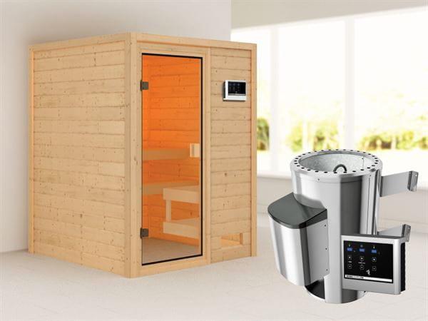 Karibu Woodfeeling Sauna Sandra mit 3,6 kW Ofen ext. Strg