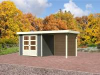 Karibu Aktions Gartenhaus Jever 3 in terragrau mit Fußboden und Anbaudach 2,40 Meter inkl. Rückwand