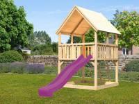 Akubi Spielturm Luis mit Rutsche in violett