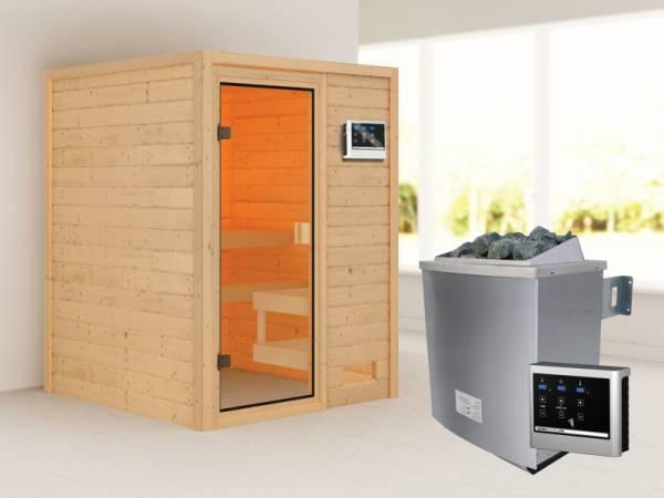 Karibu Woodfeeling Sauna Sandra mit 4,5 kW Ofen ext. Strg ohne Dachkranz