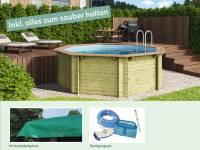 Wolff Finnhaus Pool Modell A inkl. Abdeckplane und Reinigungsset
