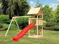 Akubi Spielturm Lotti Set mit Doppelschaukel und Rutsche in rot