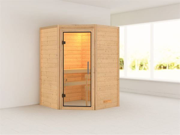 Alicja - Karibu Sauna Plug & Play ohne Ofen - ohne Dachkranz - Klarglas Ganzglastür