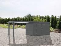 Wolff Finnhaus Metallhaus Eleganto 2724 mit 280 cm Seitendach links, granitgrau inkl. Dachrinne, Fallrohr