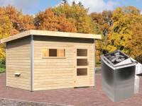 Karibu Aktionssaunahaus Erik 2 38 mm mit 9 kW Ofen integr. Strg. naturbelassen