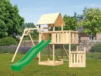 Akubi Spielturm Lotti + Schiffsanbau unten + Anbauplattform + Netzrampe + Einzelschaukel + Rutsche in grün