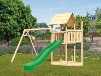 Akubi Spielturm Lotti Satteldach + Schiffsanbau oben + Doppelschaukel + Rutsche in grün