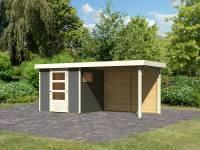 Karibu Woodfeeling Gartenhaus Oburg 2 terragrau mit Anbaudach 2,8 Meter inkl. Rückwand