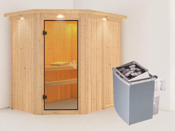 Carin - Karibu Sauna inkl. 9-kW-Ofen - mit Dachkranz -
