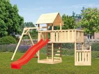 Akubi Spielturm Lotti + Schiffsanbau unten + Anbauplattform XL + Kletterwand + Einzelschaukel + Rutsche rot