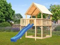 Akubi Spielturm Luis Satteldach + Rutsche blau + Anbauplattform