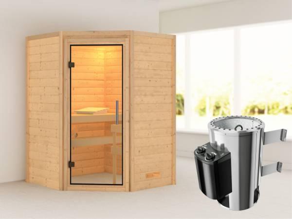 Alicja - Karibu Sauna Plug & Play 3,6 kW Ofen, int. Steuerung - ohne Dachkranz - Klarglas Ganzglastür