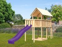 Akubi Spielturm Danny Satteldach + Rutsche violett + Anbauplattform