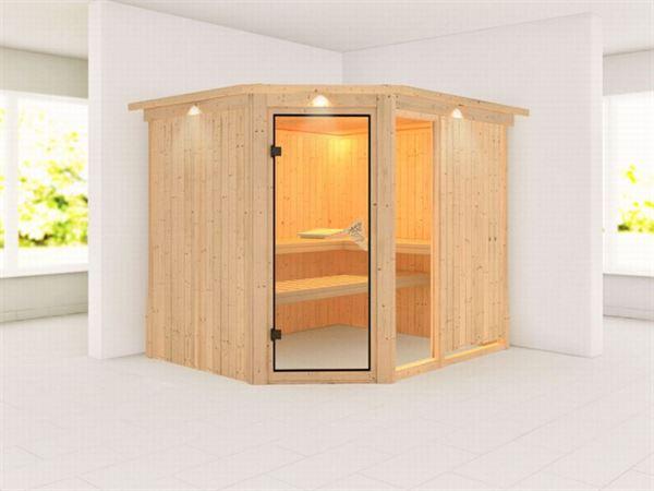 Fiona 3 - Karibu Sauna ohne Ofen - mit Dachkranz -