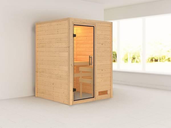Karibu Sauna Svenja 38 mm ohne Dachkranz- Ohne Ofen -klarglas Ganzglastür