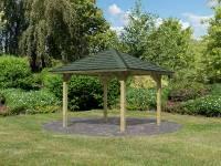 Karibu 4-Eck Pavillon Classic Bergen 1 kdi Sparset inkl. Schindeln