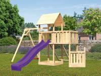 Akubi Spielturm Lotti + Schiffsanbau unten + Anbauplattform + Netzrampe + Einzelschaukel + Rutsche in violett
