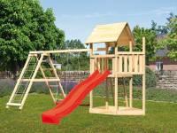 Akubi Spielturm Lotti Satteldach + Schiffsanbau oben + Doppelschaukel mit Klettergerüst + Rutsche in rot
